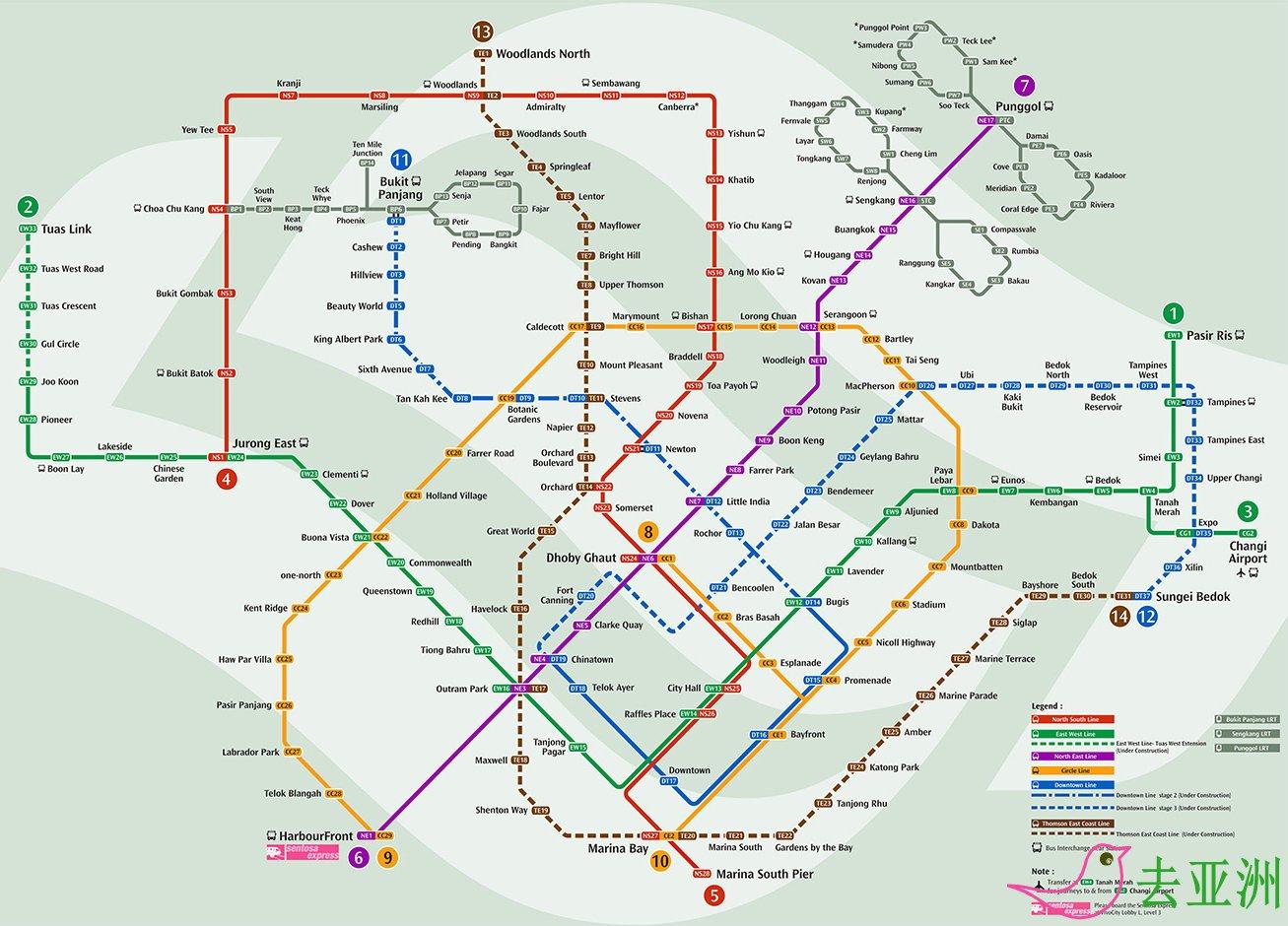 新加坡地铁线路图英文版