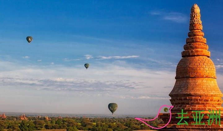 阿南达号河轮,热气球观佛塔,伊洛瓦底江,曼