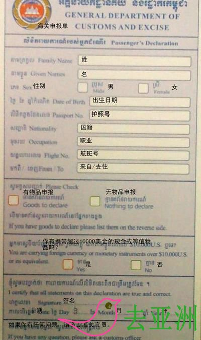 柬埔寨海关申报表中英文对照演示
