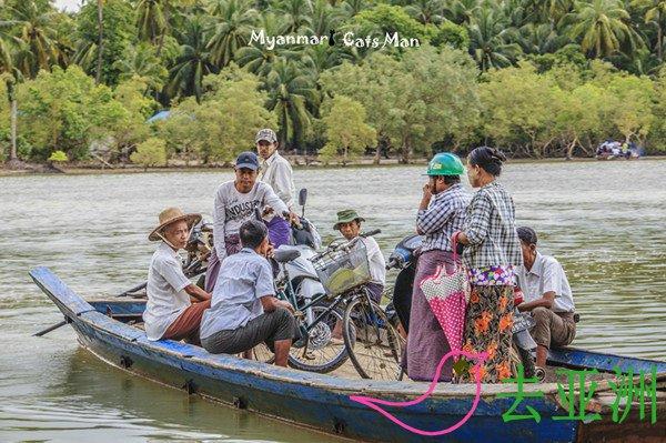缅甸当地交通工具之渡船