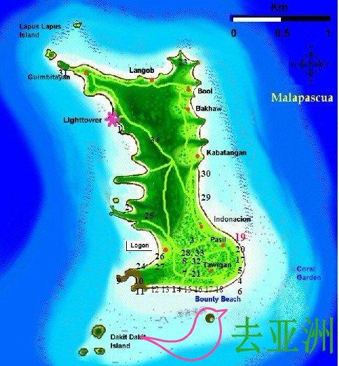 媽媽拍絲瓜島Malapascua Island全景圖