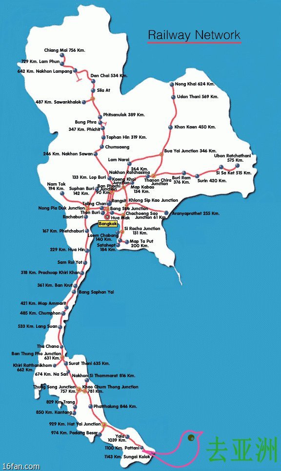 泰国的火车以曼谷为中心,向外辐射形成四条线路