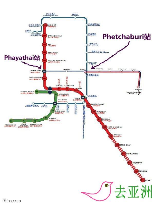 素萬那普機場與地鐵輕軌換乘
