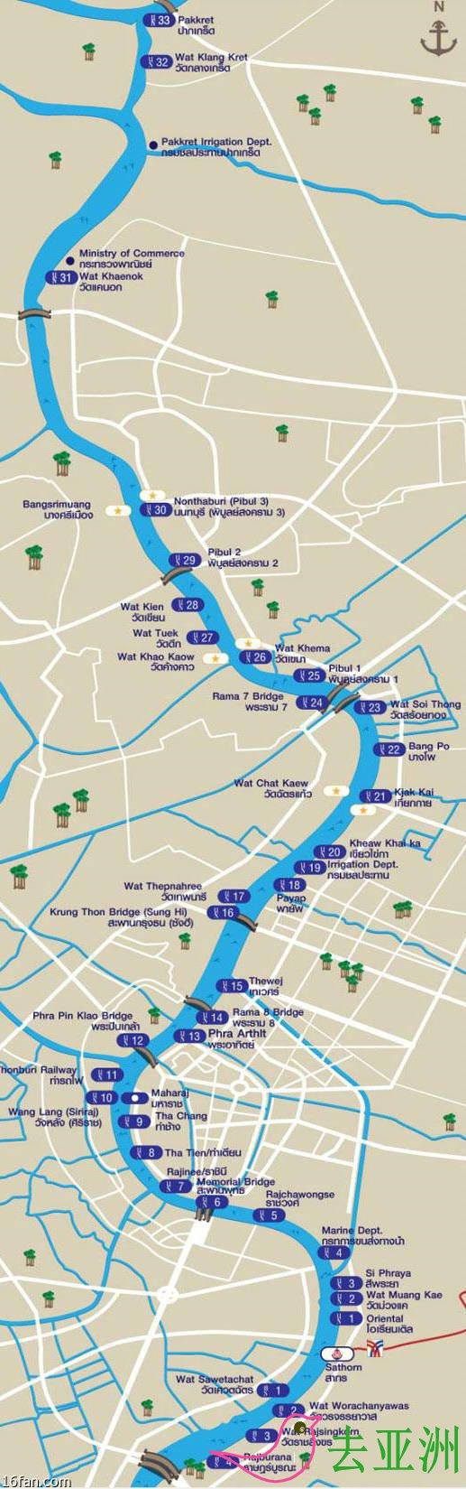 曼谷昭披耶河(Chao Phraya) 公交船路線圖