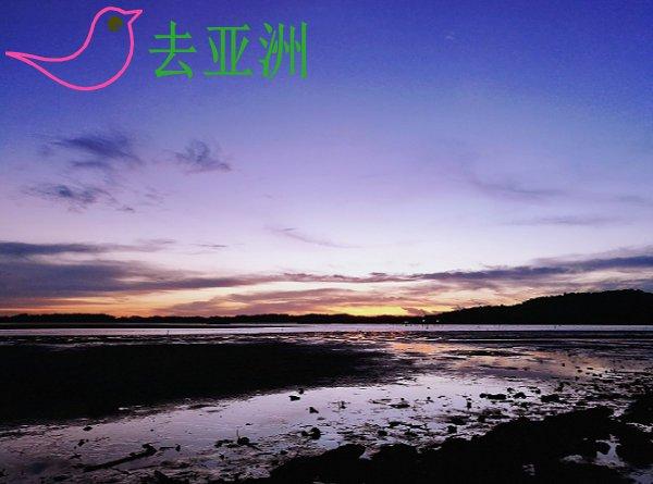 文莱Serasa海滩上的晚霞