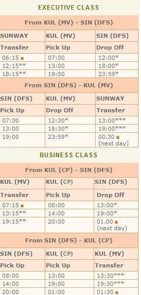 Airebus 豪華巴士往還馬來西亞、新加坡時刻表