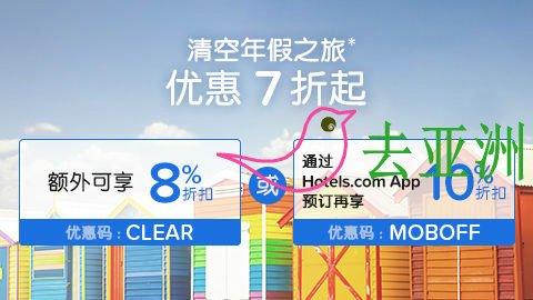 Hotels年尾充电之旅低至7折,额外专享8%的折扣优惠