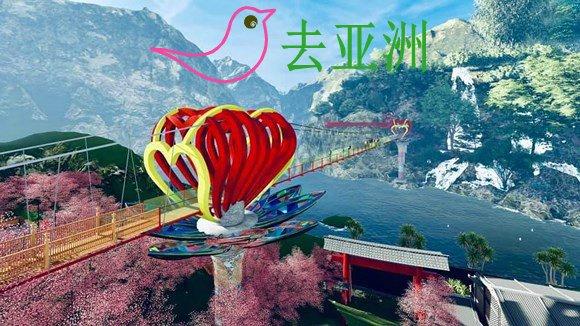山罗省沐州县崖嫣瀑布建成越南首座爱情玻璃桥