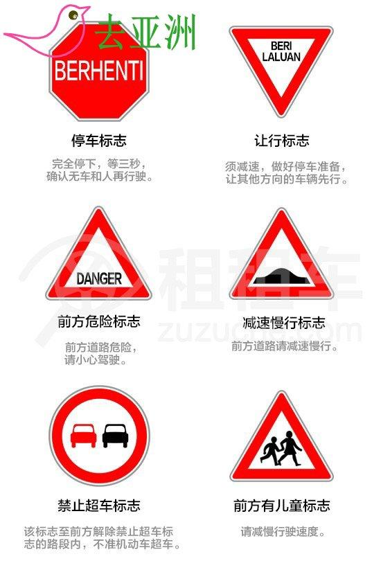 文莱重要交通标志