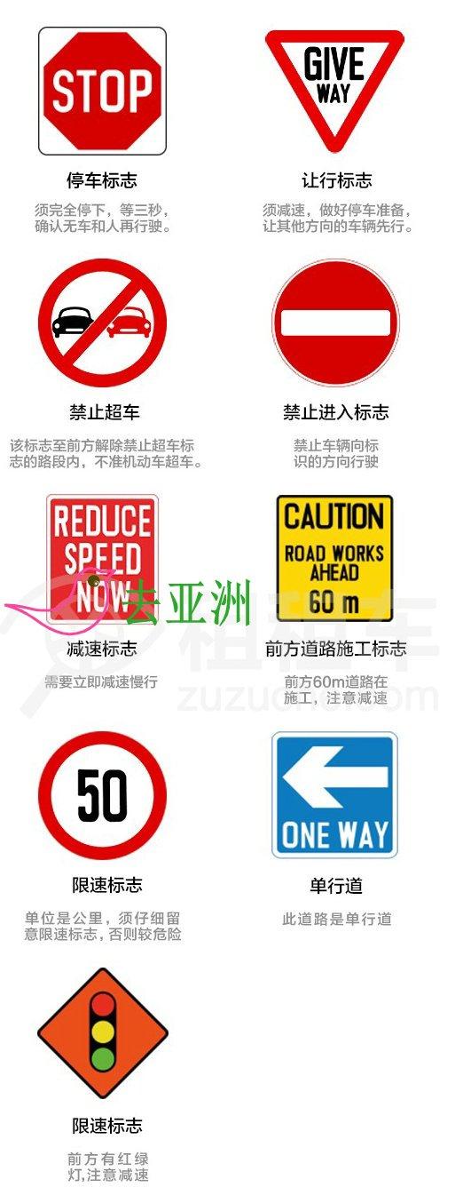 新加坡重要的交通标志