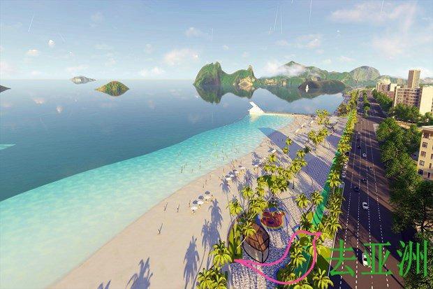 廣甯省下龍市紅何坊建造鴻基公共海灘,全長900米,寬160米